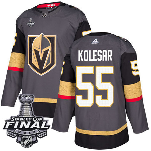 Vegas Golden Knights #55 Keegan Kolesar Gray Stitched Adidas NHL Home Men's Jersey with 2018 Stanley Cup Final Patch