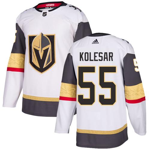 Vegas Golden Knights #55 Keegan Kolesar White Stitched Adidas NHL Away Men's Jersey
