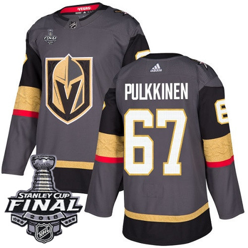 Vegas Golden Knights #67 Teemu Pulkkinen Gray Stitched Adidas NHL Home Men's Jersey with 2018 Stanley Cup Final Patch