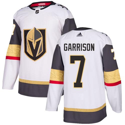 Vegas Golden Knights #7 Jason Garrison White Stitched Adidas NHL Away Men's Jersey
