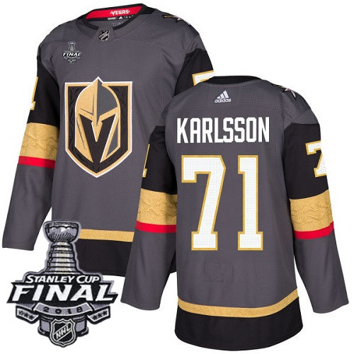 Vegas Golden Knights #71 William Karlsson Gray Stitched Adidas NHL Home Men's Jersey with 2018 Stanley Cup Final Patch