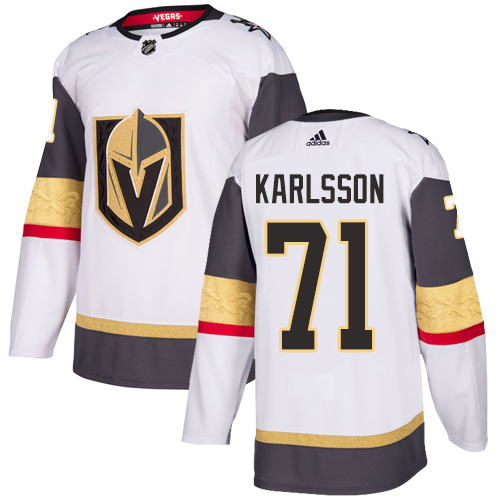 Vegas Golden Knights #71 William Karlsson White Stitched Adidas NHL Away Men's Jersey