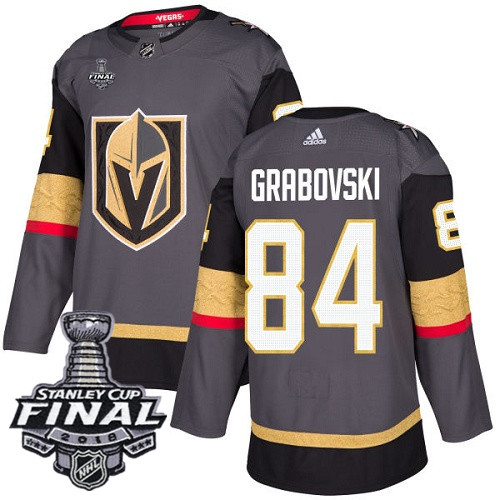 Vegas Golden Knights #84 Mikhail Grabovski Gray Stitched Adidas NHL Home Men's Jersey with 2018 Stanley Cup Final Patch