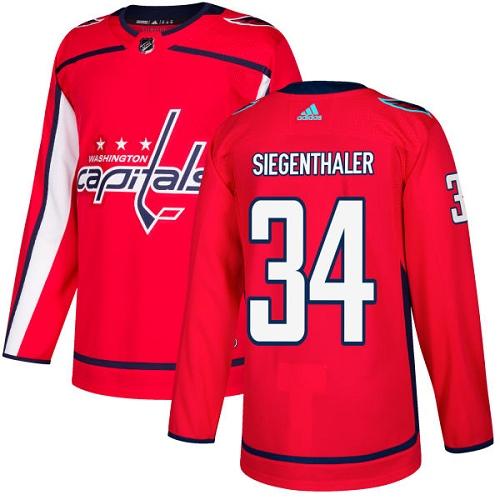 Washington Capitals #34 Jonas Siegenthaler Red Stitched Adidas NHL Home Men's Jersey