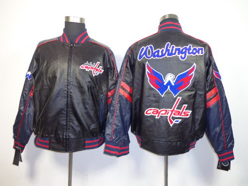 Men's Washington Capitals Blank Black Leather Coat
