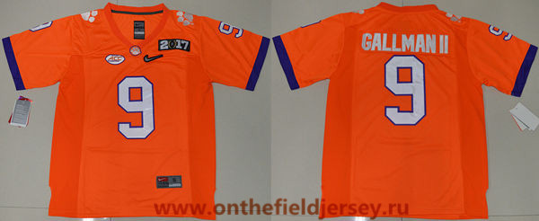 Men's Clemson Tigers #9 Wayne Gallman II Orange 2017 Championship Game Patch Stitched CFP Nike Limited Jersey