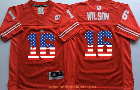 Men's Wisconsin Badgers #16 Russell Wilson Red USA Flag Fashion Stitched Nike NCAA Jersey