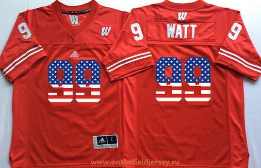 Men's Wisconsin Badgers #99 J. J. Watt Red USA Flag Fashion Stitched Nike NCAA Jersey
