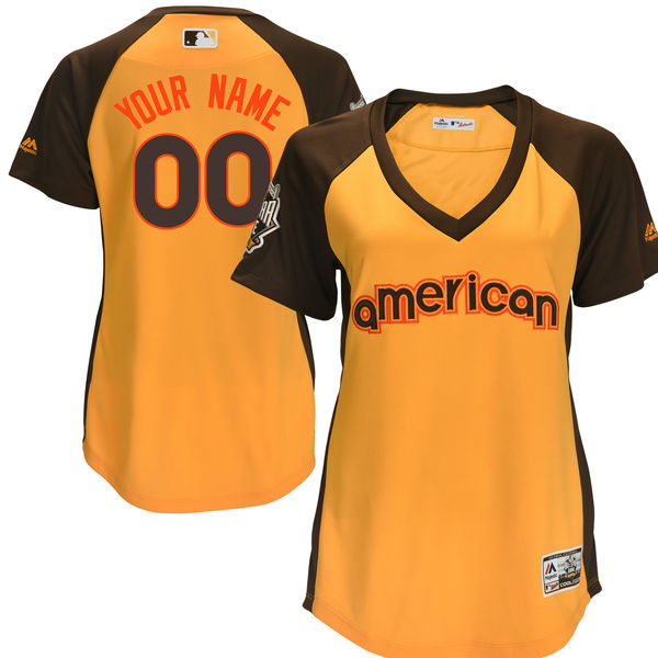 Women's American League Majestic Gold 2016 MLB All-Star Game Cool Base Custom Jersey