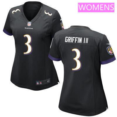 Women's Baltimore Ravens #3 Robert Griffin III Black Alternate Stitched NFL Nike Game Jersey