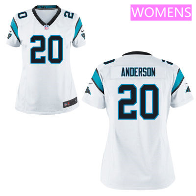 Women's Carolina Panthers #20 C. J. Anderson White Road Stitched NFL Nike Game Jersey