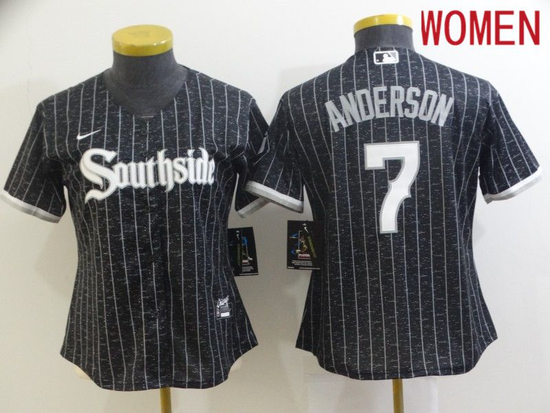 Women's Chicago White Sox #7 Tim Anderson Black 2021 City Connect Stitched MLB Cool Base Nike Jersey