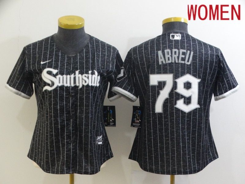 Women's Chicago White Sox #79 Jose Abreu Black 2021 City Connect Stitched MLB Cool Base Nike Jersey