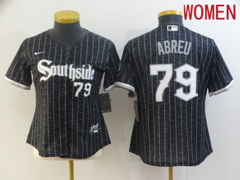 Women's Chicago White Sox #79 Jose Abreu Black with Small Number 2021 City Connect Stitched MLB Cool Base Nike Jersey