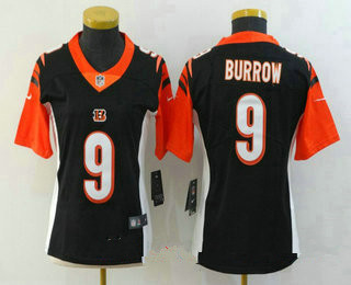 Women's Cincinnati Bengals #9 Joe Burrow Black 2020 Vapor Untouchable Stitched NFL Nike Limited Jersey