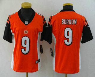 Women's Cincinnati Bengals #9 Joe Burrow Orange 2020 Vapor Untouchable Stitched NFL Nike Limited Jersey