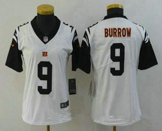 Women's Cincinnati Bengals #9 Joe Burrow White 2020 Color Rush Stitched NFL Nike Limited Jersey