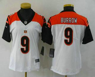 Women's Cincinnati Bengals #9 Joe Burrow White 2020 Vapor Untouchable Stitched NFL Nike Limited Jersey