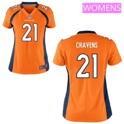 Women's Denver Broncos #21 Su'a Cravens Orange Team Color Stitched NFL Nike Game Jersey