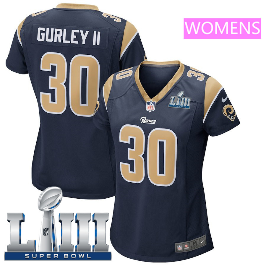 Women's Los Angeles Rams #30 Todd Gurley II Nike Navy Super Bowl LIII Bound Game Jersey