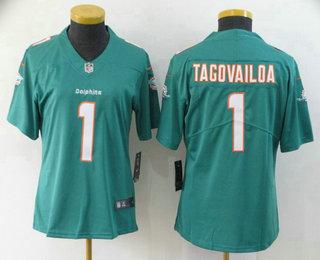 Women's Miami Dolphins #1 Tua Tagovailoa Green 2020 Vapor Untouchable Stitched NFL Nike Limited Jersey
