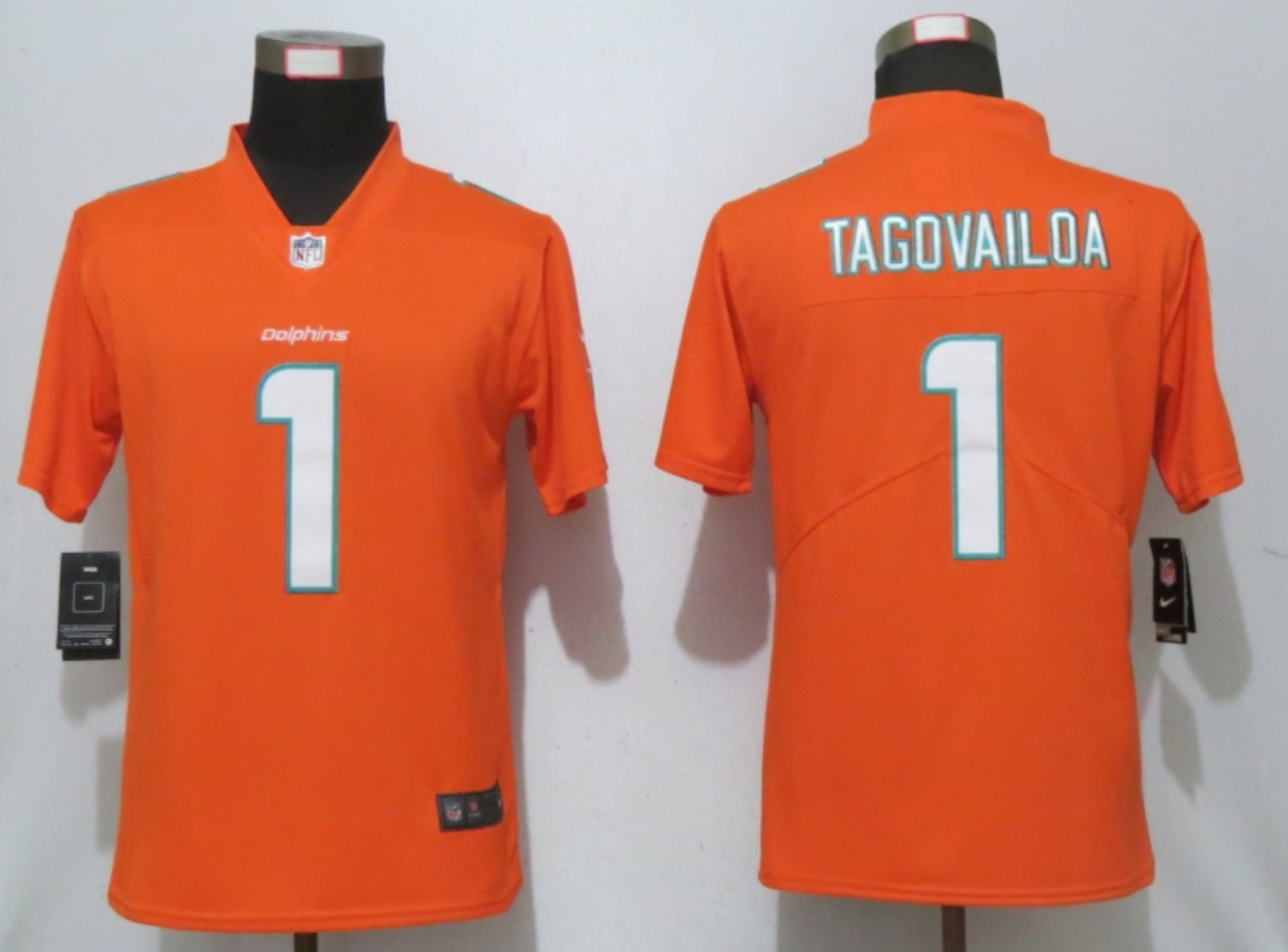 Women's Miami Dolphins #1 Tua Tagovailoa Orange 2020 Vapor Untouchable Stitched NFL Nike Limited Jersey