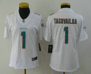 Women's Miami Dolphins #1 Tua Tagovailoa White 2020 Vapor Untouchable Stitched NFL Nike Limited Jersey