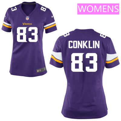 Women's Minnesota Vikings #83 Tyler Conklin Purple Color Stitched NFL Nike Game Jersey