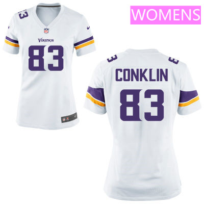 Women's Minnesota Vikings #83 Tyler Conklin White Road Stitched NFL Nike Game Jersey