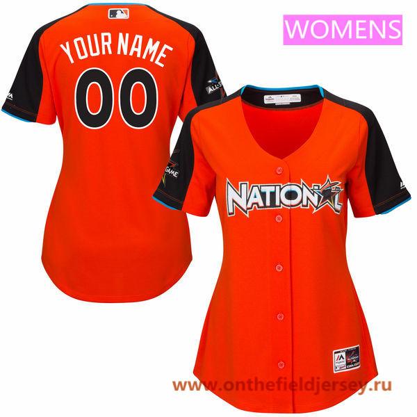Women's National League Majestic Orange Custom 2017 MLB All-Star Game Baseball Jersey