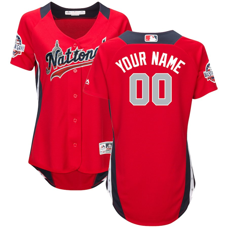 Women's National League Majestic Scarlet 2018 MLB All-Star Game Home Run Derby Custom Jersey