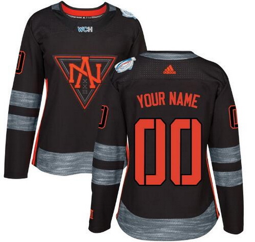 Women's North America Hockey Adidas Black World Cup Of Hockey 2016 Premier Custom Jersey
