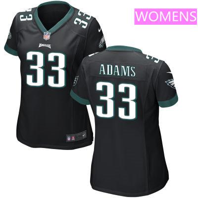 Women's Philadelphia Eagles #33 Josh Adams Black Alternate Stitched NFL Nike Game Jersey