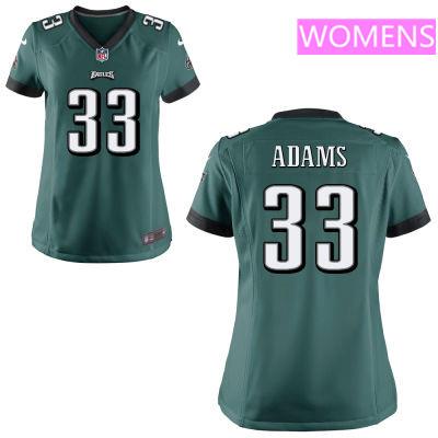 Women's Philadelphia Eagles #33 Josh Adams Midnight Green Team Color Stitched NFL Nike Game Jersey