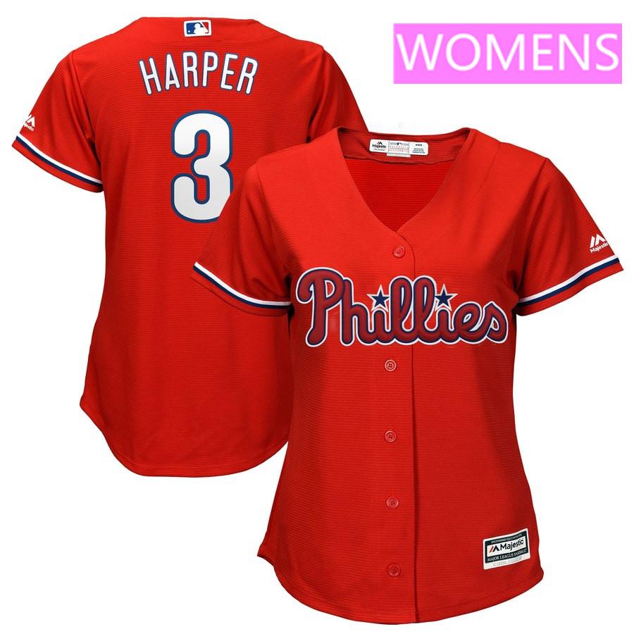 Women's Philadelphia Phillies #3 Bryce Harper Majestic Scarlet Cool Base Replica Player Jersey