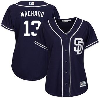 Women's San Diego Padres #13 Manny Machado Majestic Navy Cool Base Player Jersey