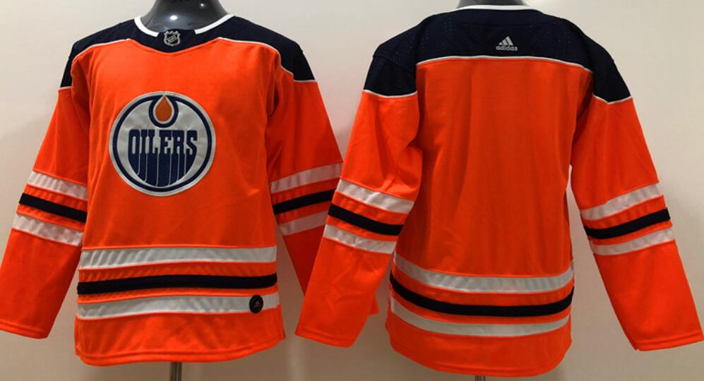 Youth's Edmonton Oilers Blank Orange Home Adidas Stitched NHL Jersey