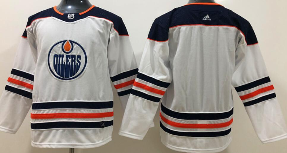 Youth's Edmonton Oilers Blank White Road Authentic Adidas Stitched NHL Jersey
