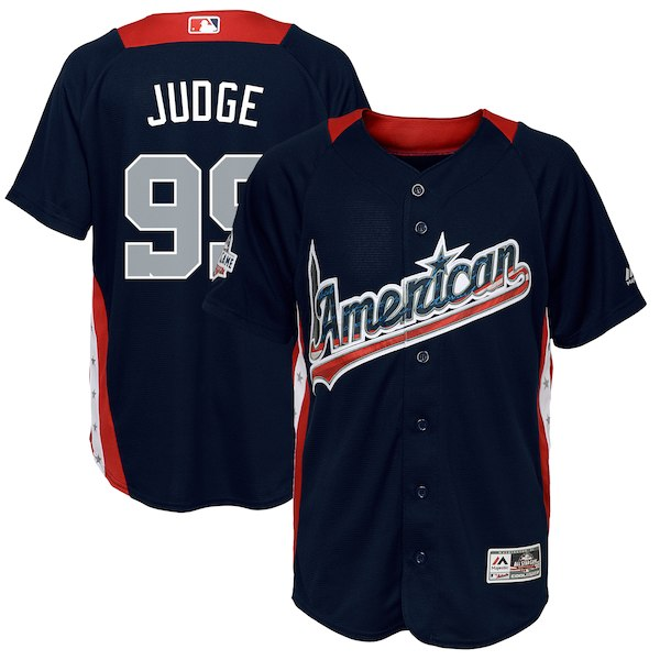 Youth American League Aaron Judge Majestic Navy 2018 MLB All-Star Game Home Run Derby Player Jersey