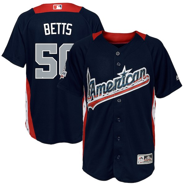 Youth American League Mookie Betts Majestic Navy 2018 MLB All-Star Game Home Run Derby Player Jersey