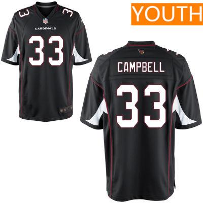 Youth Arizona Cardinals #33 Chris Campbell Black Alternate Stitched NFL Nike Game Jersey