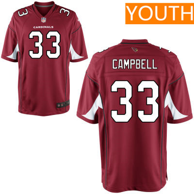 Youth Arizona Cardinals #33 Chris Campbell Red Team Color Stitched NFL Nike Game Jersey