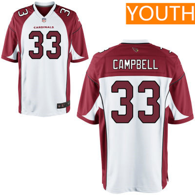 Youth Arizona Cardinals #33 Chris Campbell White Road Stitched NFL Nike Game Jersey
