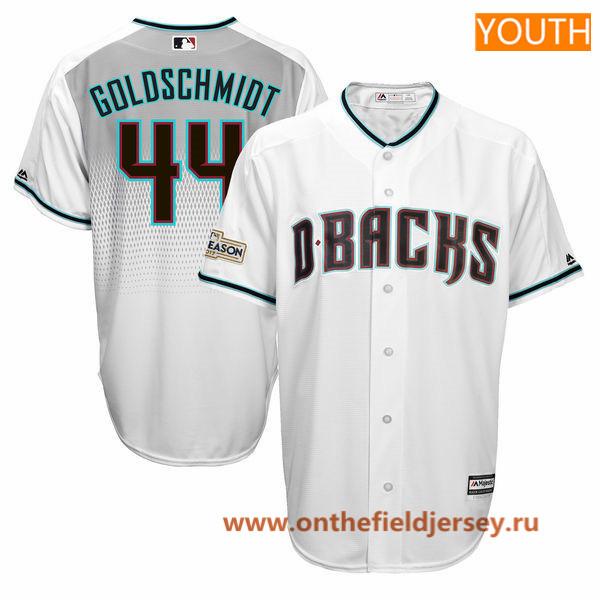 Youth Arizona Diamondbacks Paul Goldschmidt Majestic White 2017 Postseason Patch Cool Base Player Jersey