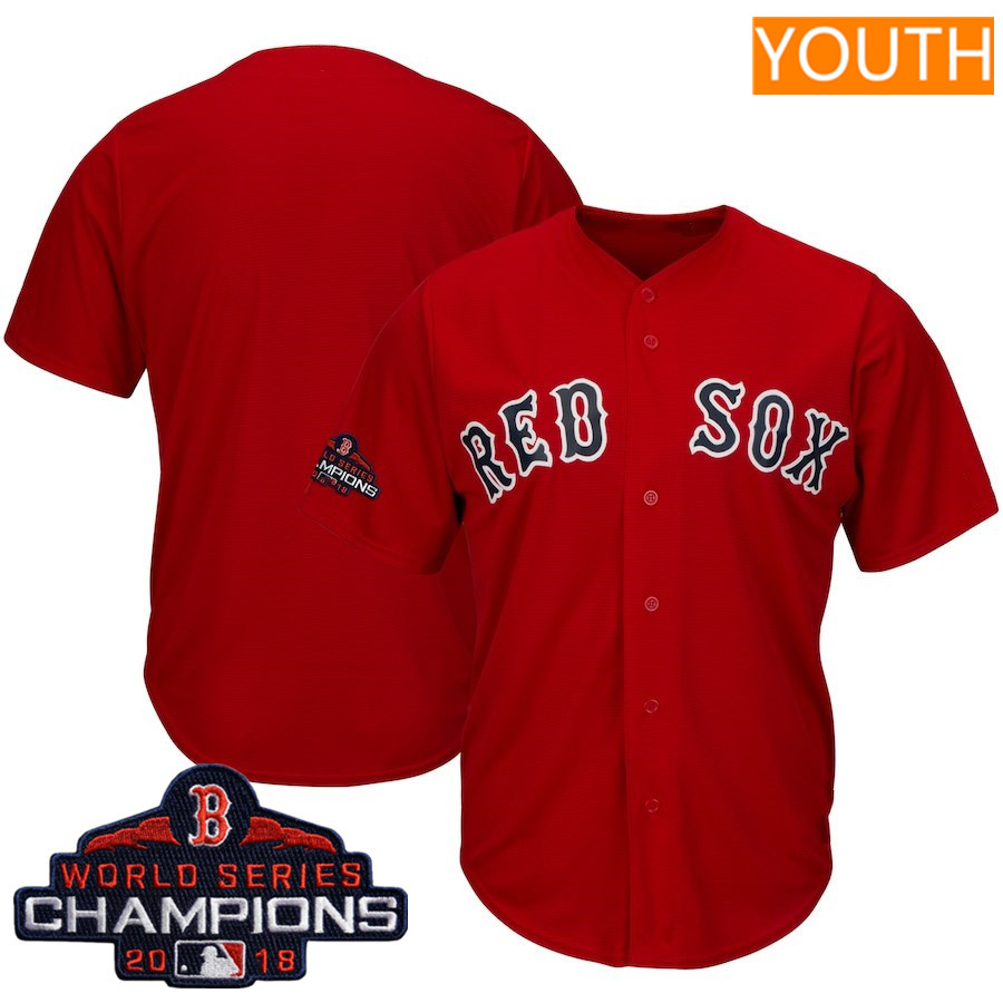 Youth Boston Red Sox Blank Majestic Scarlet 2018 World Series Champions Team Logo Jersey