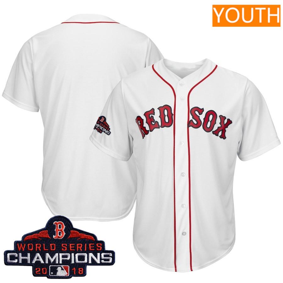 Youth Boston Red Sox Blank Majestic White 2018 World Series Champions Jersey
