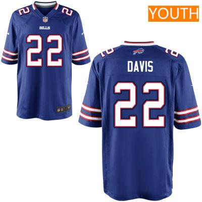 Youth Buffalo Bills #22 Vontae Davis Royal Blue Team Color Stitched NFL Nike Game Jersey