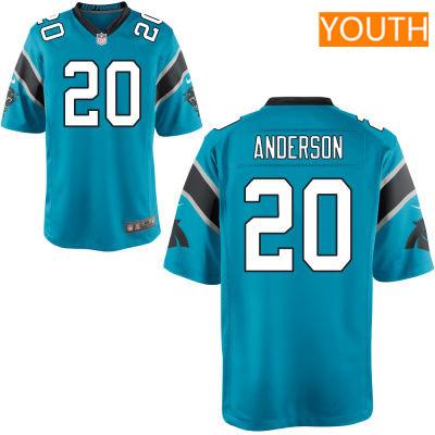 Youth Carolina Panthers #20 C. J. Anderson Light Blue Alternate Stitched NFL Nike Game Jersey