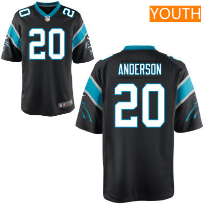 Youth Carolina Panthers #20 C. J. Anderson Black Team Color Stitched NFL Nike Game Jersey