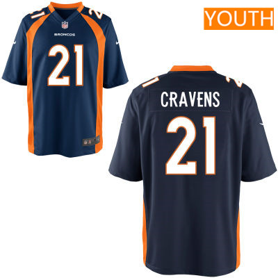 Youth Denver Broncos #21 Su'a Cravens Navy Blue Alternate Stitched NFL Nike Game Jersey